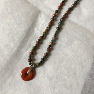 """Jewelry - 16"""" Mixed small natural stone necklace jasper disk"""